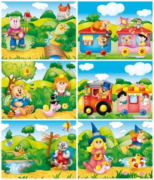 Dětské obrázkové kostky - Pohádky ll, 12 kostek