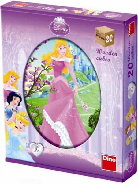 DINO Dětské dřevěné kostky - Princezny 20 kostek