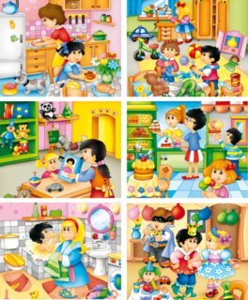 Dětské obrázkové kostky - Můj den, 20 kostek