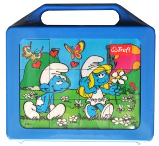 TREFL Dětské obrázkové kostky plastové Šmoulové 12 kostek