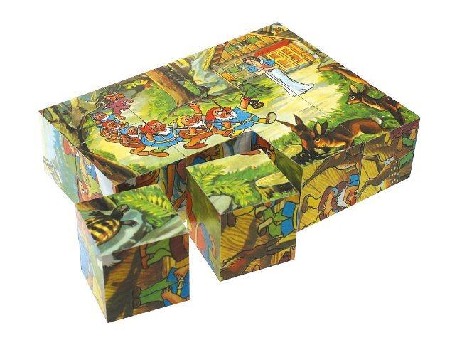 Dětské obrázkové kostky TOPA - Sněhurka 12 kostek