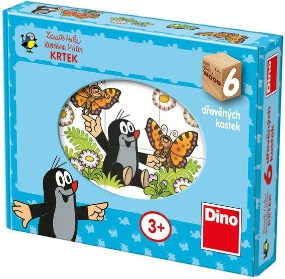 DINO Dětské dřevěné kostky - Veselý Krtek 6 kostek