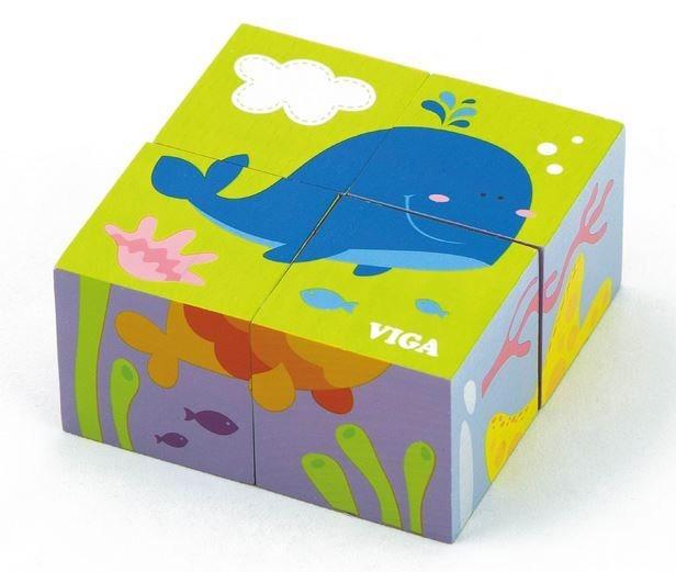 VIGA Obrázkové kostky Zvířata v moři, 4 kostky