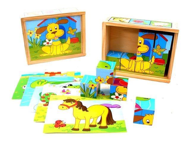 PLAYME Obrázkové kostky Zvířátka, 12 kostek