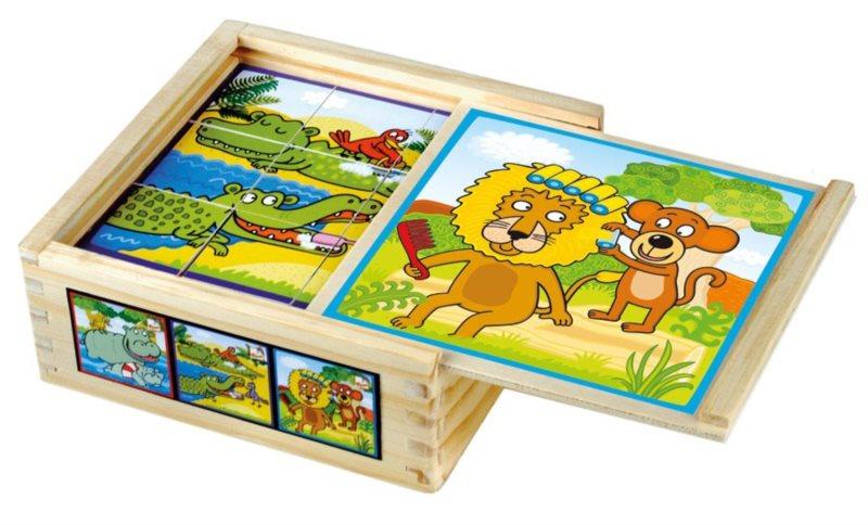 Obrázkové kostky BINO 84198 Zvířátka, 9 kostek - Dřevěné kostky pro děti