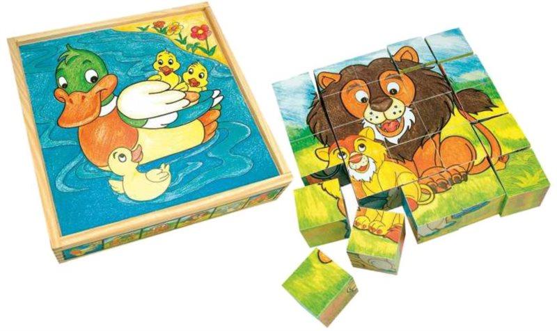 Obrázkové kostky BINO 84173 Zvířátka, 25 kostek - Dřevěné kostky pro děti