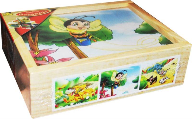 Tradiční dřevěná hračka Obrázkové kostky Zvířátka B, 12 kostek