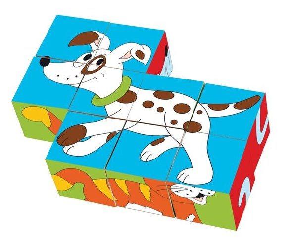 WOODY Obrázkové kostky Zvířátka v barvách, 9 kostek