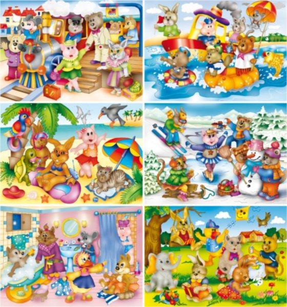 Dětské obrázkové kostky - Veselá zvířátka, 35 kostek