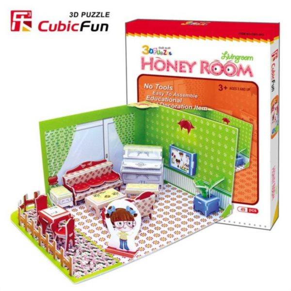 CUBICFUN 3D puzzle Obývací pokoj 49 dílků