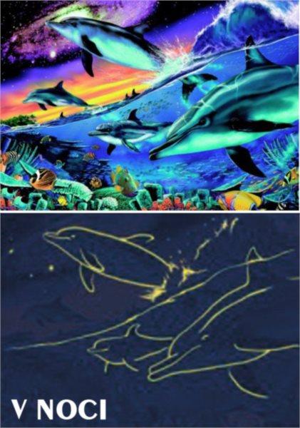 Svítící puzzle DINO 500 dílků - Oceán - delfíni