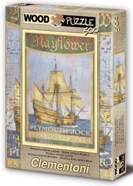CLEMENTONI Puzzle s imitací dřeva Plachetnice Mayflower 500 dílků
