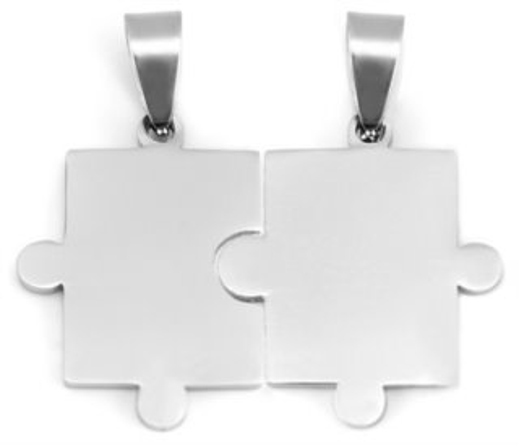 Ocelové partnerské přívěšky Puzzle - hladké