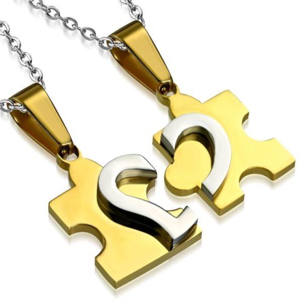 Ocelové partnerské přívěšky Puzzle - srdce (zlaté)