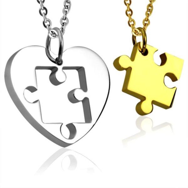 Partnerské přívěšky Puzzle - srdíčko (zlaté)