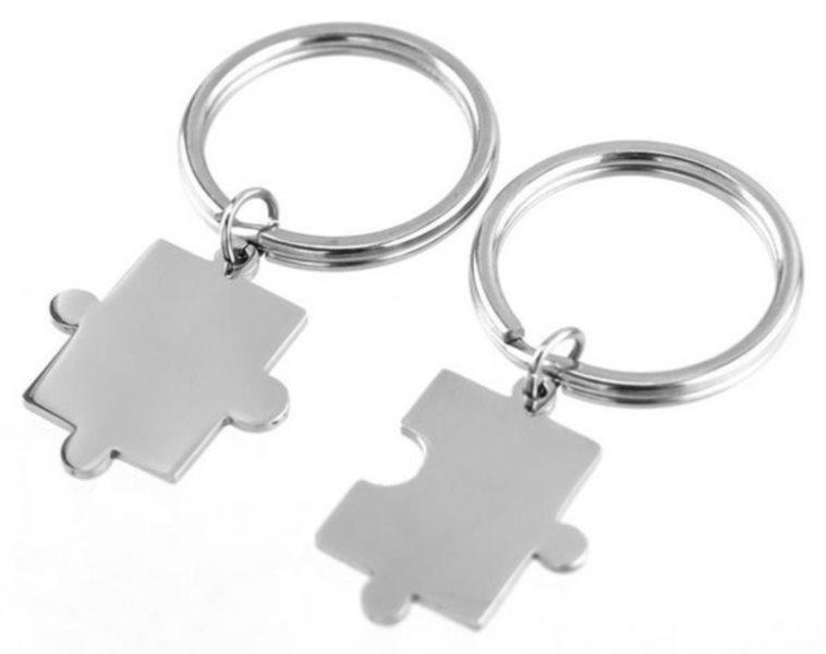 Ocelové přívěšky na klíče Puzzle 2ks