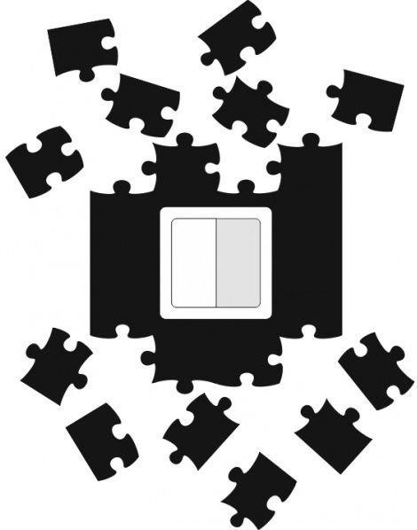 Ochrana zdi kolem vypínače nebo zásuvky Puzzle černé