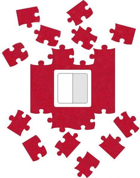 Ochrana zdi kolem vypínače nebo zásuvky Puzzle červené