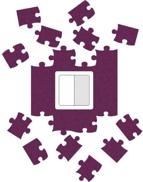 Ochrana vypínače Puzzle - fialová