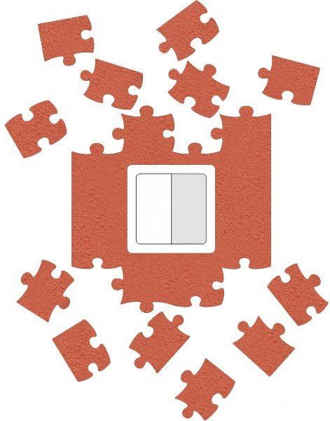 Ochrana zdi kolem vypínače nebo zásuvky Puzzle okrová