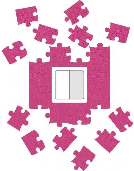 Ochrana zdi kolem vypínače nebo zásuvky Puzzle růžové