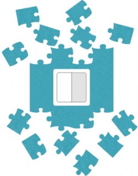 Ochrana zdi kolem vypínače nebo zásuvky Puzzle světle modrá