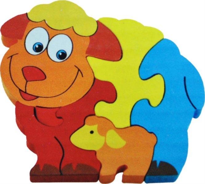 Dětské dřevěné puzzle, Ovečka s jehňátkem
