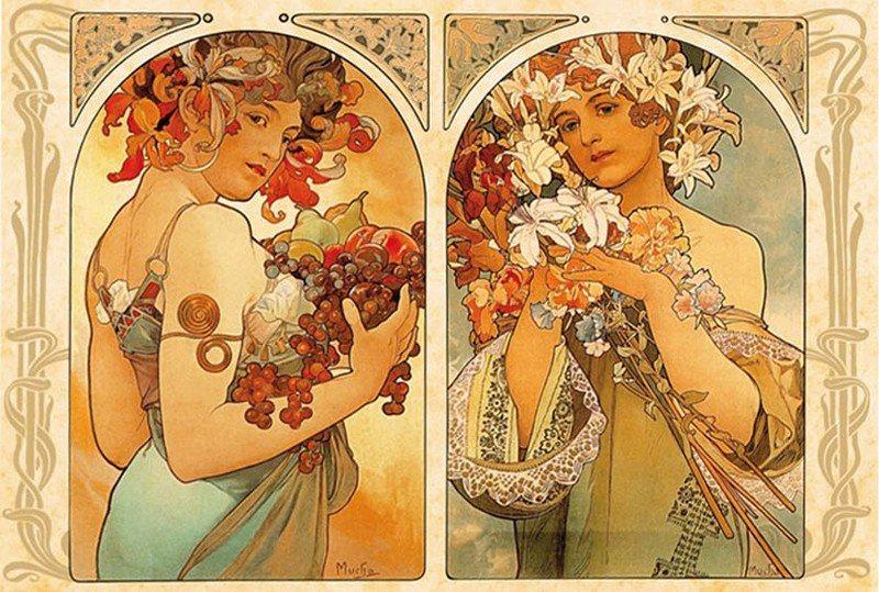 Puzzle D-TOYS 1000 dílků - Alfons Mucha, Ovoce , Květiny