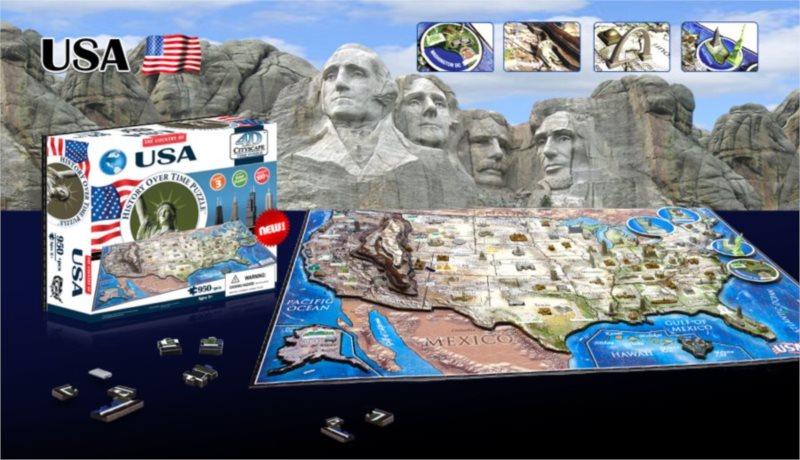 4D PUZZLE Cityscape Time Panorama USA 964 dílků