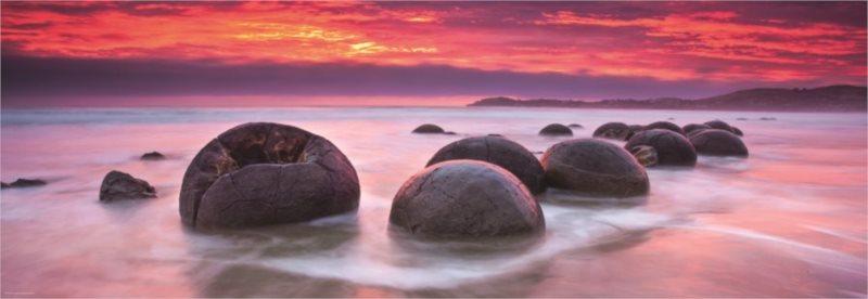 Panoramatické puzzle HEYE 1000 dílků - Kameny Moeraki, Nový Zéland