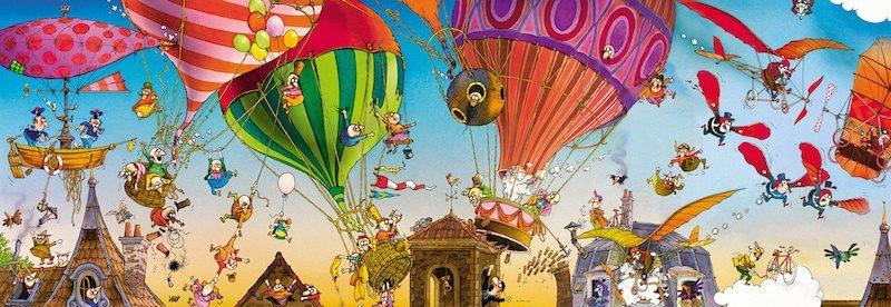 HEYE Panoramatické puzzle Let balónem 1000 dílků