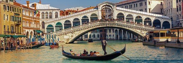 Panoramatické puzzle HEYE 1000 dílků - Most Rialto, Benátky