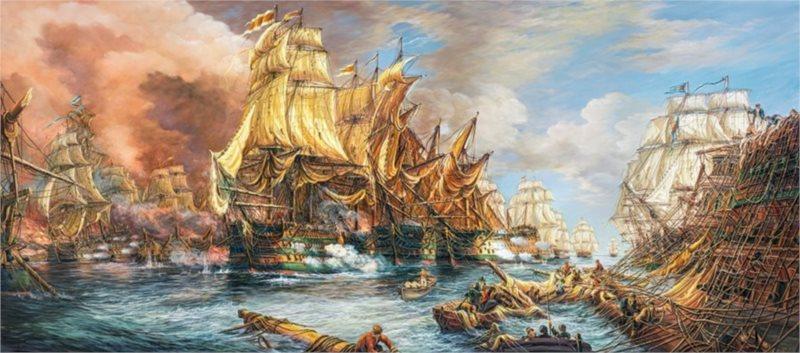 CASTORLAND Panoramatické puzzle Námořní bitva 600 dílků