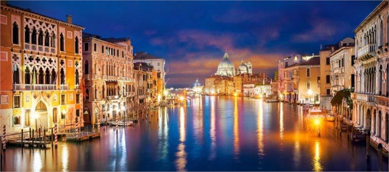 CASTORLAND Panoramatické puzzle Noční Canal Grande, Benátky 600 dílků