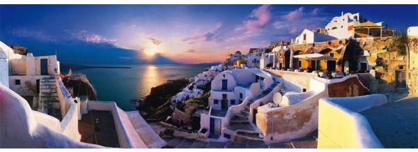 Panoramatické puzzle SCHMIDT 58281 Soumrak nad Santorini, Řecko 1000 dílků