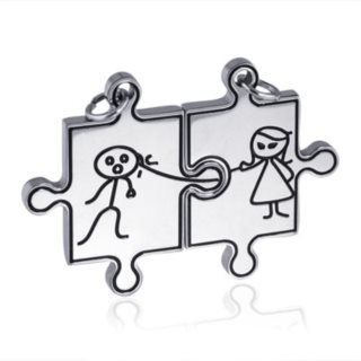 Ocelové partnerské přívěšky Puzzle Ona a On