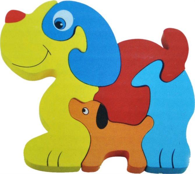 Tradiční dřevěná hračka Dřevěné puzzle Pejsek se štěňátkem 5 dílků