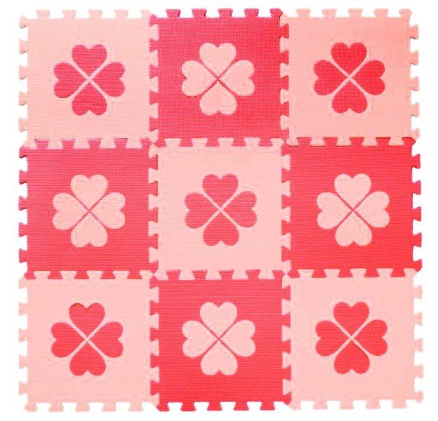 Pěnové BABY puzzle Červené čtyřlístky R (29,5x29,5)