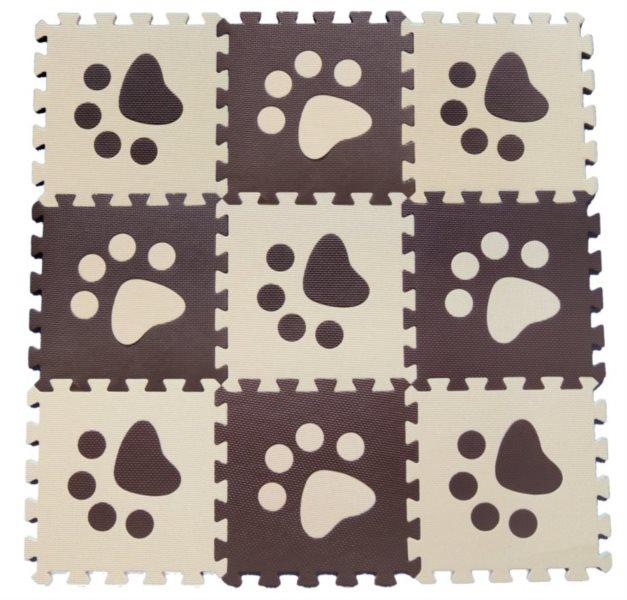 Pěnové BABY puzzle Hnědé tlapky 9 dílů (B)