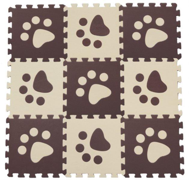 Pěnové puzzle BABY KOUTEK Hnědé tlapky 9 dílů (H)