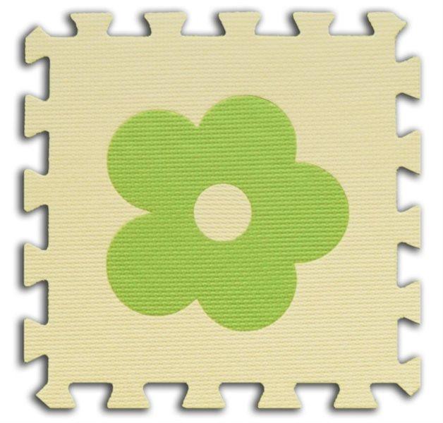 Pěnové BABY puzzle Kytičky 1 díl (béžový)
