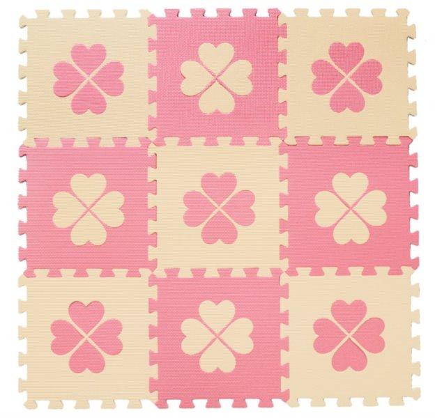 Pěnové puzzle BABY KOUTEK Růžové čtyřlístky 9 dílů (B)