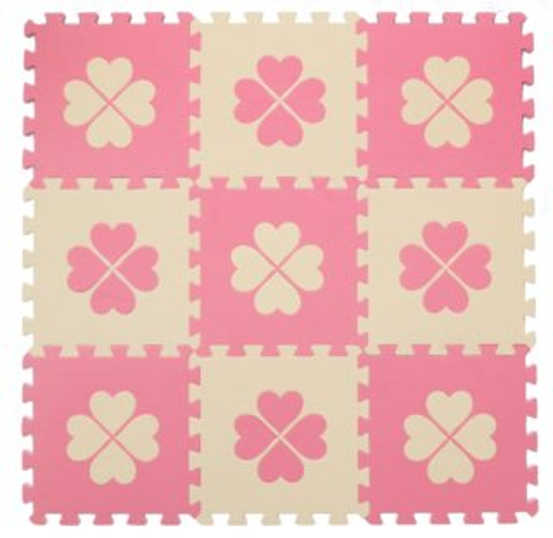 Pěnové puzzle BABY KOUTEK Růžové čtyřlístky 9 dílů (R)