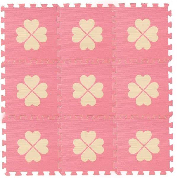 Pěnové BABY puzzle Růžové s čtyřlístky 9 dílů (B)