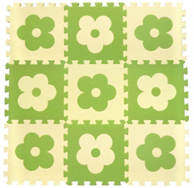 Pěnové puzzle BABY KOUTEK Zelené kytičky 9 dílů (B)