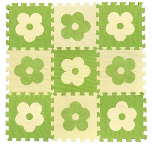 Pěnové puzzle BABY KOUTEK Zelené kytičky 9 dílů (Z)