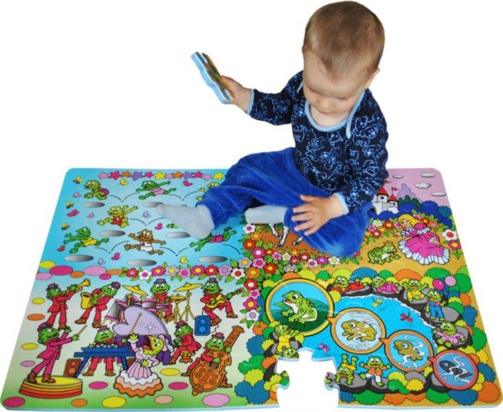 Pěnové podlahové puzzle, Žáby (90x60)