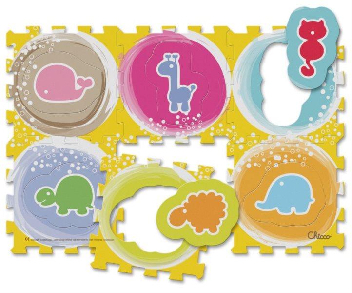 CHICCO Pěnové puzzle Barevná zvířátka od 1 roku - 89x60 cm