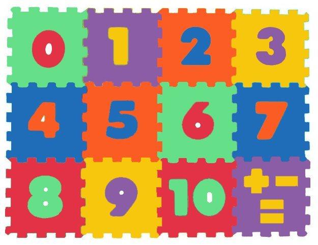 Pěnové puzzle, pěnový koberec Čísla 15x15cm - MALÝ GÉNIUS, 6 barev