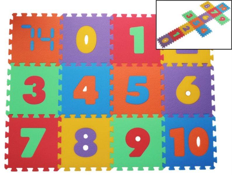 Pěnové puzzle Čísla 16mm, 6 barev, MALÝ GÉNIUS